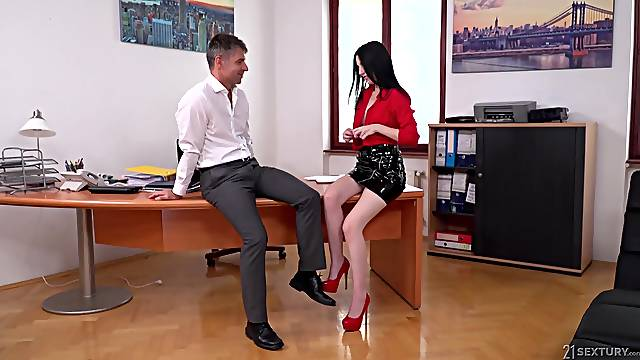 Karina Grand adores doggy style after a blowjob in the office