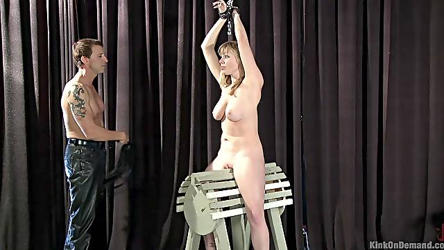 Spanking and dick pleasing are amazing experience for tied Adrianna Nicole