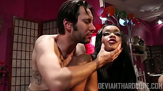 Rough bondage sex with a horny stud and ebony slave Skin Diamond