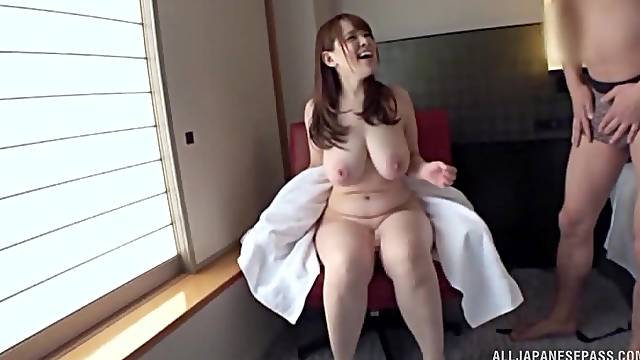 chubby and busty asian gets her hairy pussy pounded by a guy