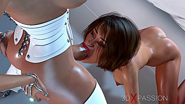 3d sex cyborg dickgirl fucks  in the space station