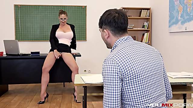 Busty Teacher Cathy Heaven fucks horny student