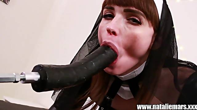 Kinky and costumed tranny Natalie Mars wants to cum using a sex machine