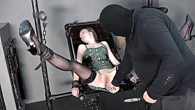 Pussy pump and fisting. Skinny girl is fisted