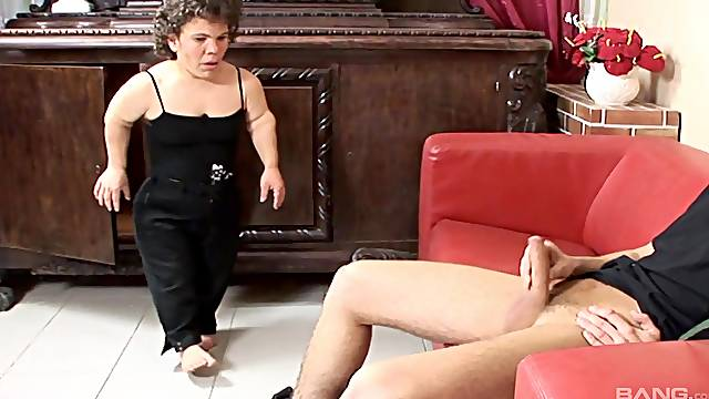 Sexy midget Bambi Bardo spreads her legs for strong friend's penis