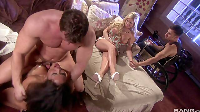 Group of horny friends decide to surprise Jessica Bangkok with group sex