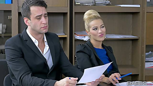 Cherry Kiss sucks a dick of her boss under the table and gets fucked
