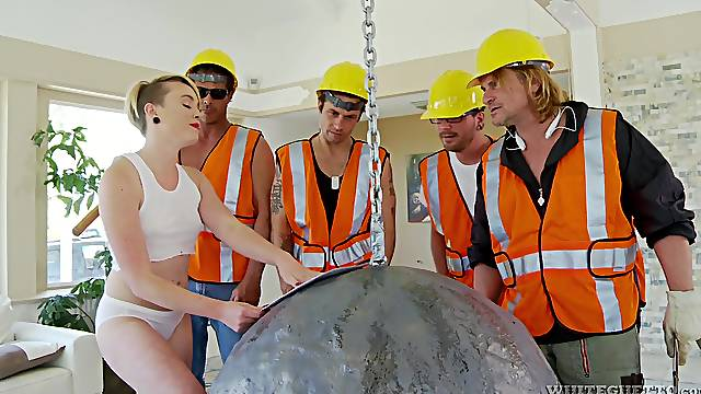Short haired blonde slut Miley May gets fucked by a lot of men
