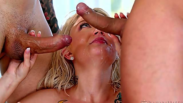 Blonde pornstar Dakota Skye gets double penetrated during massage