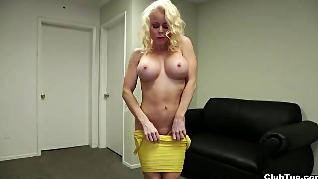 Blonde mature Nikki Delano with nice fake tits pleasures a man