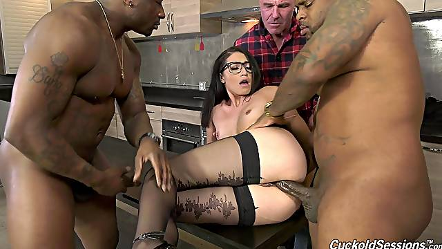 Cuckold husband watches Avi Love getting fucked by two BBCs