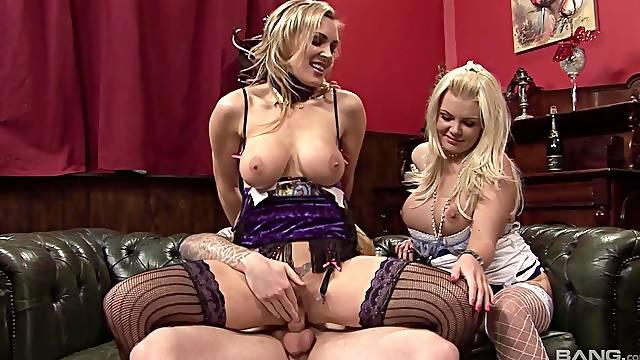 Glamour pornstars Tanya Tate and Tiffany Kingston fucked by one guy
