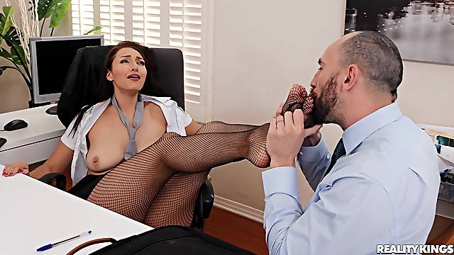 Sex in the office after work hours with secretary Bella Rolland