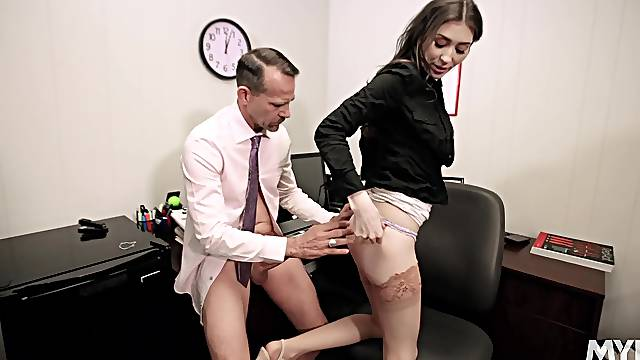 Fucking on the office table with mesmerizing Angelina Diamanti