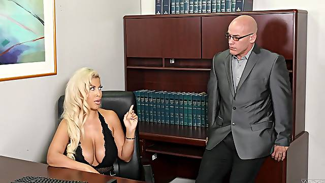 Hardcore fucking on the office table with boss lady Bridgette B.
