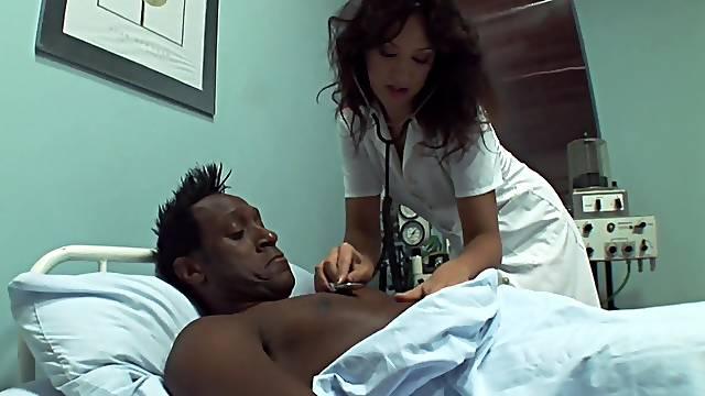 Interracial anal fucking between a black patient and nurse Olivia II