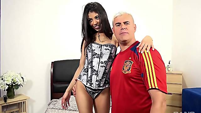Latina chick Veronica Rodriguez fucked doggystyle on the floor