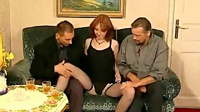 Gorgeous Swedish girl with two men