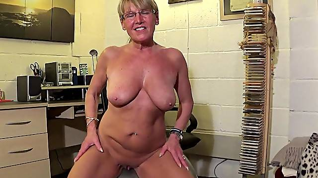Mature Swiss naked on the ball