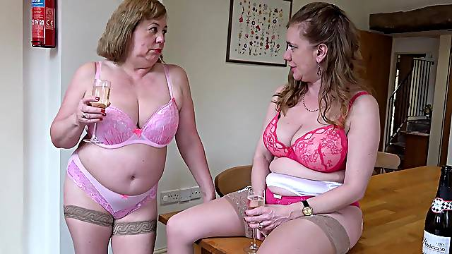 Two mature ladies and one huge cock in hardcore sexual video