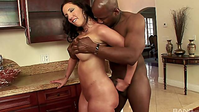 Homemade interracial porn video with a BBC and MILF Kelly Divine