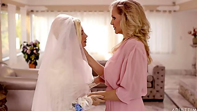 Wild lesbian sex between Julia Ann and Carolina Sweets before the wedding