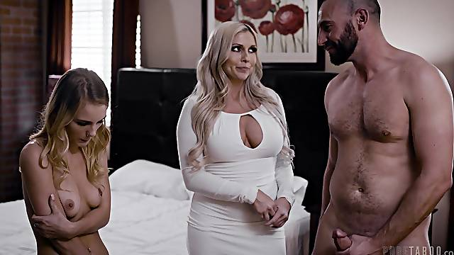 Sensual threesome on the bed with Christie Stevens and Natalie Knight