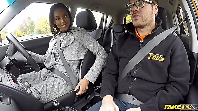 Ebony pornstars get fucked by a fake taxi driver and instructor