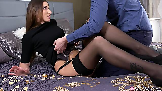 Foxy wife Clea Gaultier teases with stockings and gets fucked