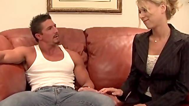 Passionate fucking on the office couch with slutty Katie Morgan