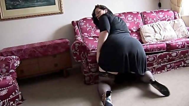 BBW in stocking tease