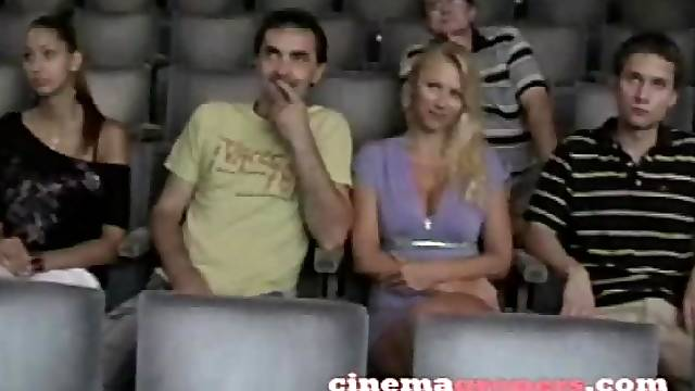 Hot blonde at the cinema