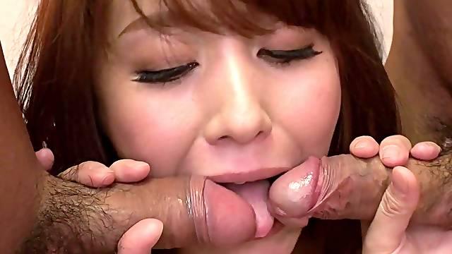 Japanese gal, Nao Katou got spit- roasted, uncensored