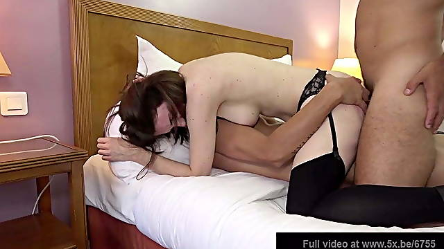 Pretty brunette's husband shares his wife in a threesome