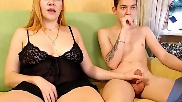 Redhead stepmom with stepson on web