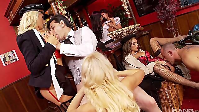 Handsome pornstars enjoy having kinky sex with lucky dudes