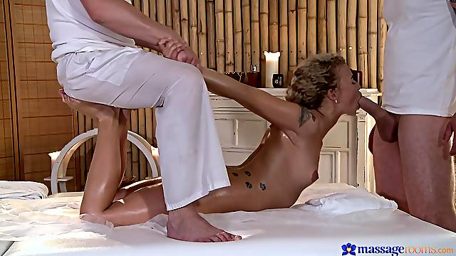 Massage turns into amazing MMF threesome with a cock hungry whore