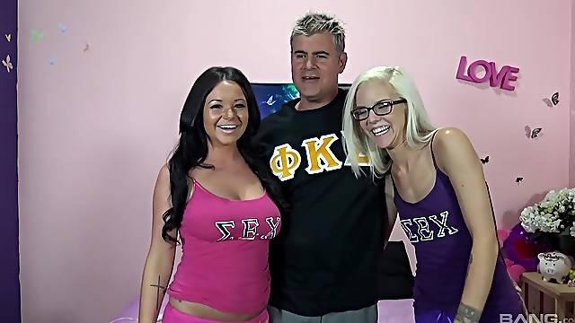 Wild FFM threesome with pornstars Rachele Richey and Halle Von