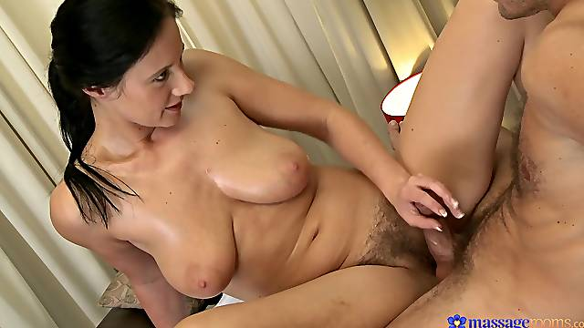 Nice natural tits Enza gets massaged and fucked by a handsome dude