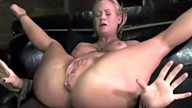 Blonde whore BDSM masturbation