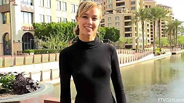 Cute blonde flash her body on street and fist in ass