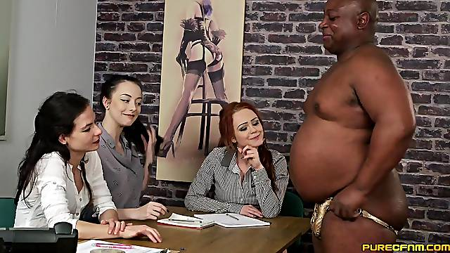 Black dude takes off his pants to tease three cock hungry sluts
