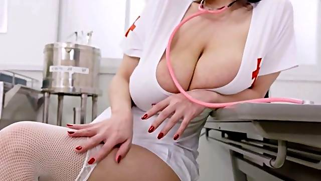 Sexy Asian nurse with huge natural tits