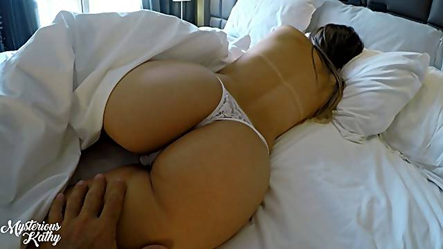 Morning sex for sexy babe in white thong