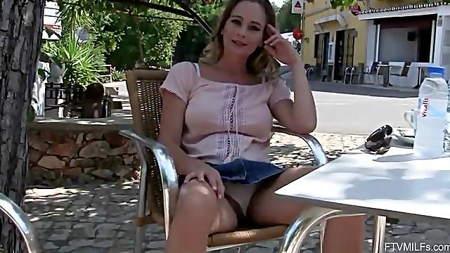 Blonde busty Portuguese MILF flashes and play with pussy