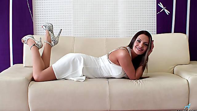 Home alone cougar Dominica Phoenix in amazing white lingerie