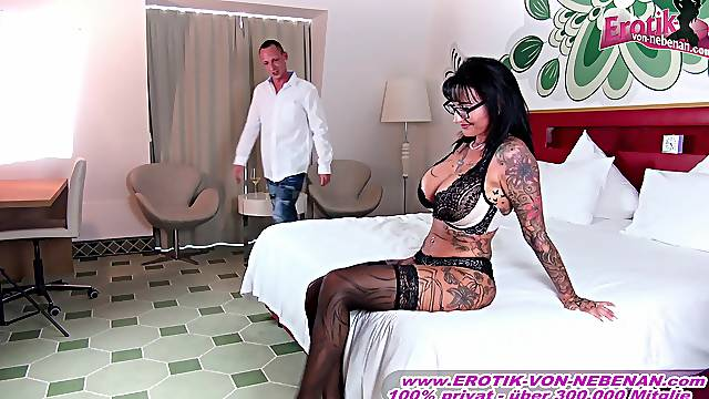 German amateur big tits tattoo milf with glasses