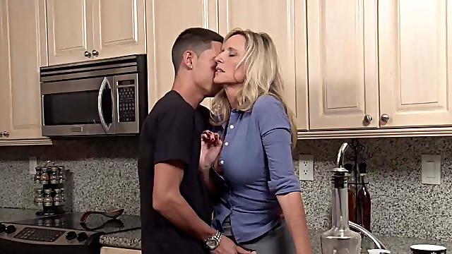 Stepson fuck cute stepmom in the kitchen