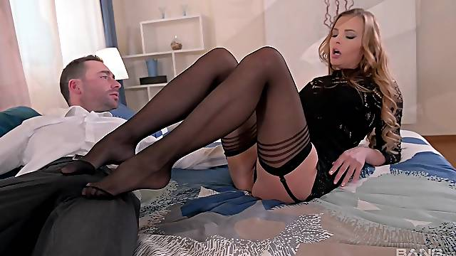 Busty pornstar Candy Alexa in stockings and lingerie having sex