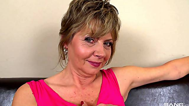 Dirty mature slut Monika Mature gets licked and fucked by a younger model